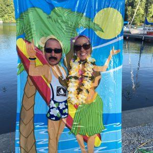 Jeff and Sarah Hanson at the ECSC Beach Party
