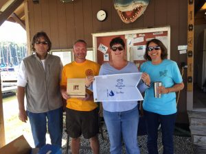Crew of Dutch Mob after placing 2nd in Hornback Regatta.  Holding Fag is Nan Schulze - the 2016 Sailor of the Year Winner